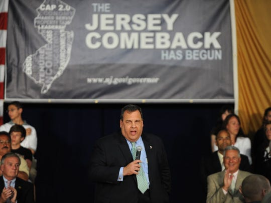 Gov. Chris Christie hosts his first town hall meeting Tuesday, at  Lake Riviera Middle School in Brick, after Democrats in the Assembly and Senate adopted their budget Monday. Christie gestures while calling out State Senator and Wood-Ridge Mayor Paul Sarlo.