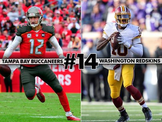 14. Buccaneers at Redskins: Robert Griffin III could