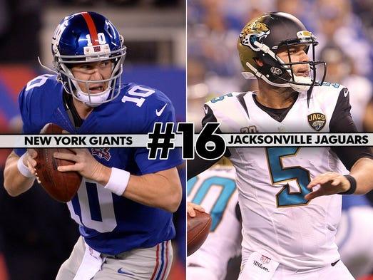 16. Giants at Jaguars - Rookies Odell Beckham Jr. and