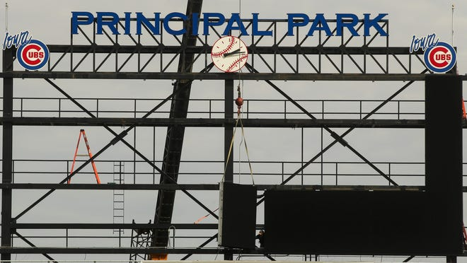 A new, state-of-the-art, high-definition video board has begun to be installed at Principal Park for the start of the 2015 season. The 64-foot wide and 24-foot-tall board is located in the same structure in right field that is currently occupied by a message board, video board and advertising panels. The board will be unique in minor-league baseball. The project, which includes new HD cameras and video production equipment, will cost around $1 million and is being manufactured by Daktronics.