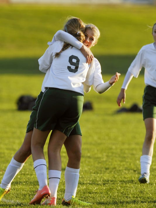 York Catholic's Julia Piff (7) greets teammate Elizabeth Johnson (15) after Johnson's first-half goal during a District 3 Class A quarterfinal last year at York Catholic.