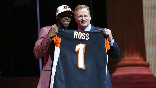 John Ross (Washington) poses with NFL commissioner Roger Goodell (right) as he is selected as the number 9 overall pick to the Cincinnati Bengals in the first round the 2017 NFL Draft at the Philadelphia Museum of Art.