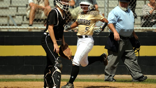 Abilene High's Jaiden Franklin (5) scores during the bottom of the fourth inning of the Lady Eagles' 6-3 win on Wednesday, March 29, 2017, at Abilene High School.