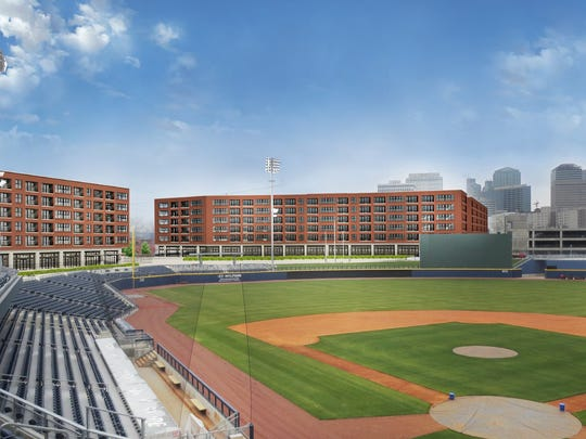 Renderings of the mixed-use development planned near First Tennessee Park in Nashville.