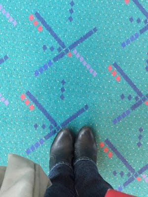 Selfies with the carpet are popular at Portland International Airport.
