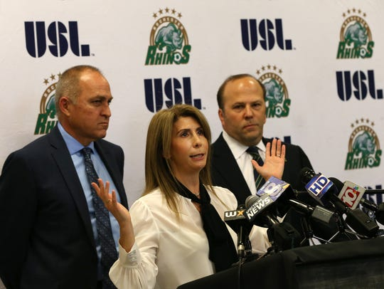 Rhinos owner Wendy Dworkin talks about some of the bad will shown the team by the community during a news conference in mid-November of 2017. She is flanked by her husband, David, right, and the team's Chief Soccer Officer, Pat Ercoli, the club's former coach.