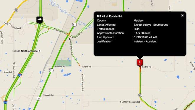 18-wheeler accident near Canton, Miss.
