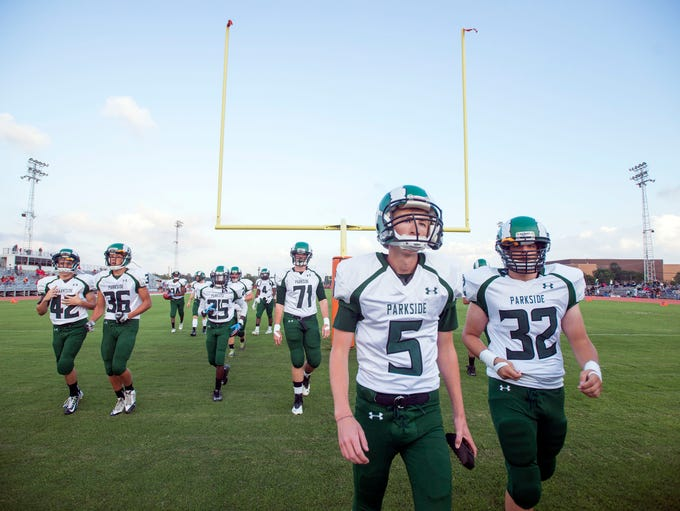 The Rams head to the locker room before taking on Bennett at Wicomico County Stadium Friday, September 19 in Salisbury. Parkside defeated Bennett 33-14.