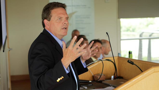 David Small, incoming DNREC secretary, discusses the Coastal Zone Act during a forum in Wilmington.