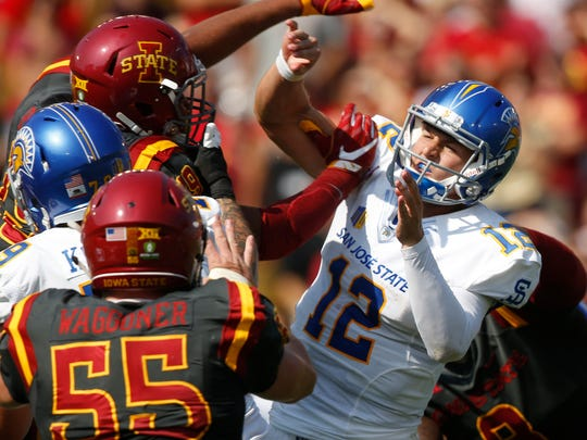 San Jose State's Josh Love gets brought down by Iowa State on a pass Saturday, Sept. 24, 2016 at Jack Trice Stadium in Ames.