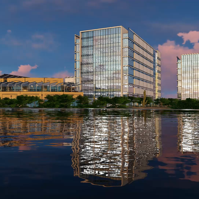 Rendering shows proposed Tempe biotech campus, which would be built just west of the Tempe Center for the Arts near Town Lake.