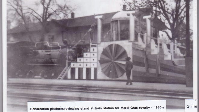 Royal viewing Debarkation platform/reviewing stand for Mardi Gras royalty at the train station.