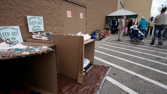 Sleeping quarters are ready for participants during the Harmony House Sleep-Out for the Homeless at Walmart in Ontario on Friday.
