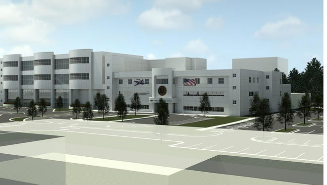 A conceptual image by Whitesell-Green/Caddell Joint Venture shows what the new Escambia County jail facility will look like.