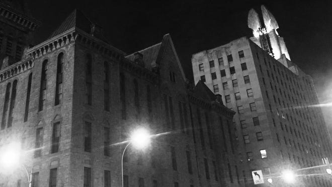 The Wings of Progress atop the Times Square Building at Broad and Exchange in Rochester shown here on March 16, 2016, are once again lit.