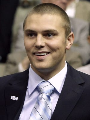 This Sept. 3, 2008 file photo shows Track Palin, son of Alaska Gov. Sarah Palin, during the Republican National Convention in St. Paul, Minn.