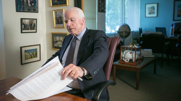 U.S. Sen. John McCain at his office in Phoenix on Monday,