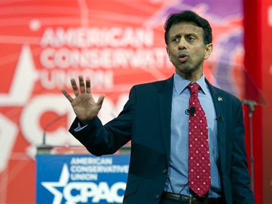 Louisiana Gov. Bobby Jindal speaks during the Conservative Political Action Conference (CPAC) in National Harbor, Md., Thursday, Feb. 26, 2015. (AP Photo/Cliff Owen)