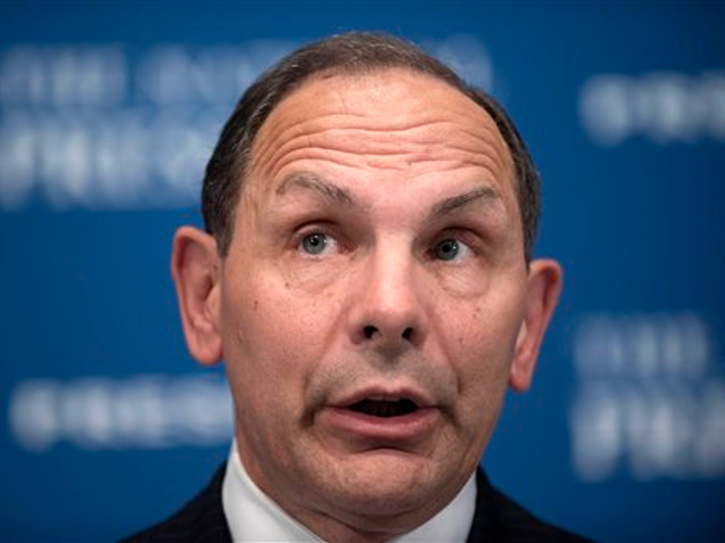 Veterans Affairs Secretary Robert McDonald talks about the state of the Veteran Affairs Department while speaking at a luncheon at the National Press Club in Washington Friday, Nov. 6, 2015.