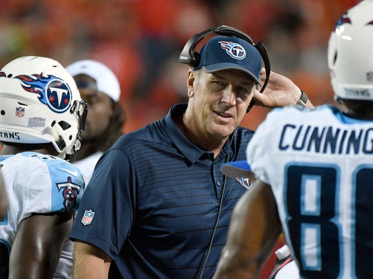 FILE- In this Aug. 31, 2017, file photo, Tennessee Titans head coach Mike Mularkey removes his headset during the first half of an NFL preseason football game against the Kansas City Chiefs in Kansas City, Mo. The Titans have scored just 10 points in the first quarter of their first five games. Coach Mularkey has tried starting games with the ball, yet little has helped an issue they need to fix hosting Indianapolis on Monday night.  (AP Photo/Ed Zurga, File)