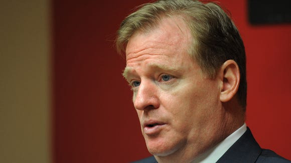 NFL commissioner Roger Goodell, shown meeting with The Indianapolis Star's reporters and editors in 2011, must decide the punishment for Colts owner Jim Irsay, who was arrested Sunday night.