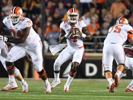 Clemson quarterback Deshaun Watson (4) looks to pass against Boston College during last Friday's game.