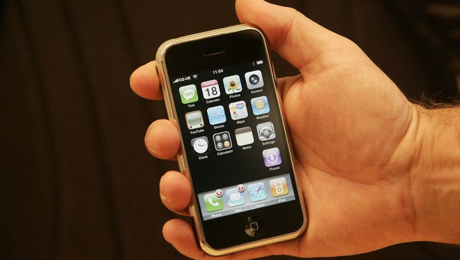 Apple's iPhone is unveiled at a press conference in central London in 2007.
