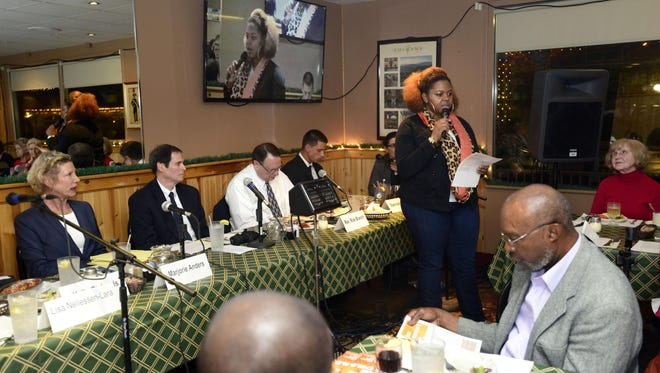 Keyontay Humphries, regional organizer for the ACLU of Florida, speaks to a gathering at Franco's Italian Restaurant on Monday during the second of a three-part forum on the School To prison Pipeline. This forum was focused on juveniles being tried as adults.