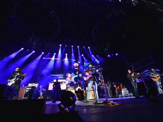 The Zac Brown Band performs during the Capital One JamFest at the NCAA March Madness Music Festival on on April 5, 2015, at White River State Park in Indianapolis.