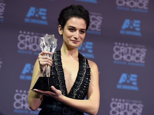 """Jenny Slate seen here posing with the best actress in a comedy award for """"Obvious Child"""" at the 20th annual Critics' Choice Movie Awards on Thursday, Jan. 15, 2015, in Los Angeles, was in Palm Springs this past weekend."""