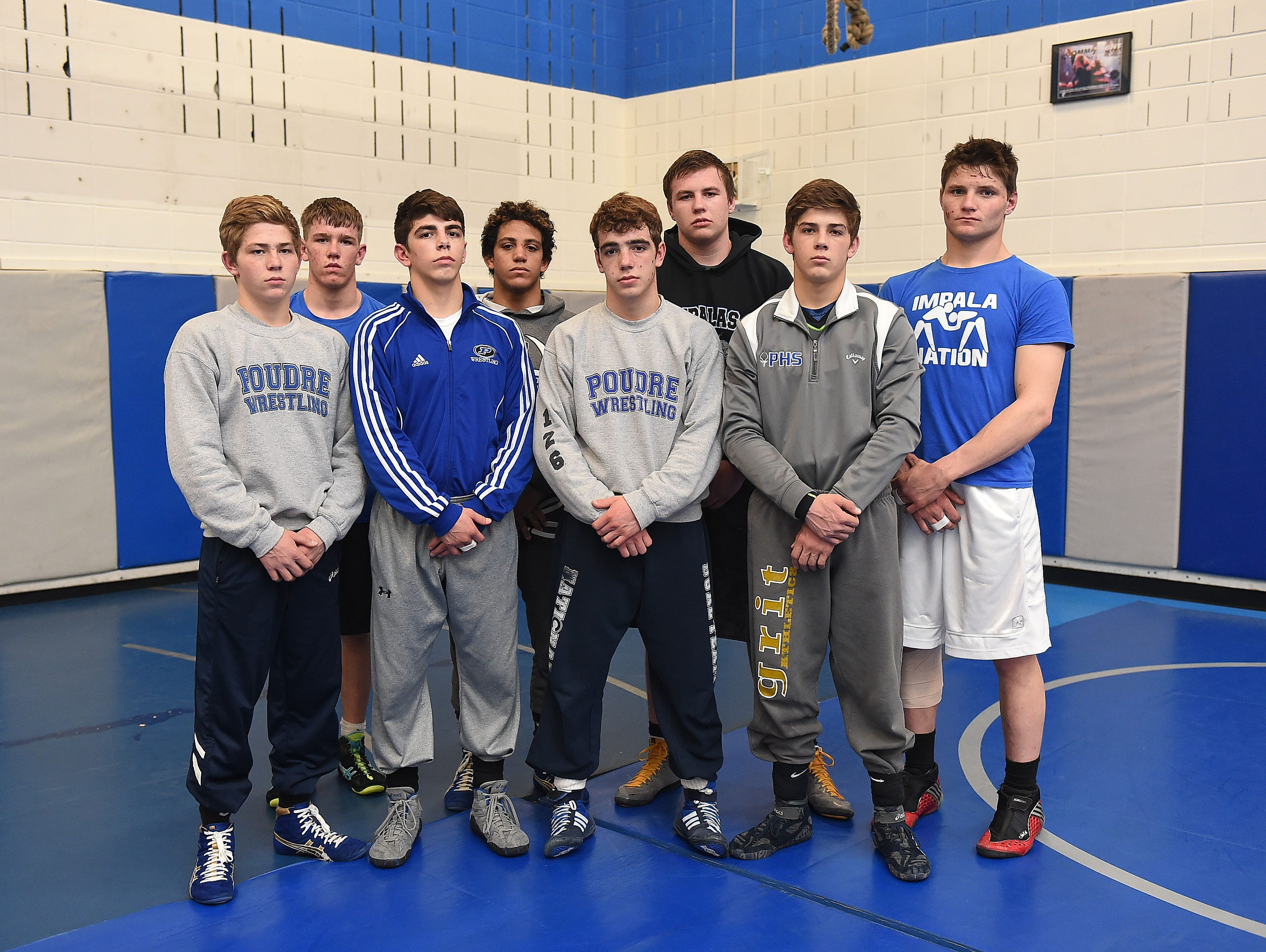 Eight Poudre High School wrestlers will compete at the state tournament in Denver this weekend. Back row, left to right: David Bekkedahl, Diego Calderon, Weston Mayer, Garret McCullar. Front row, left to right: Brody Lamb, Job Greenwood, Jacob Greenwood, Owen Lamb.