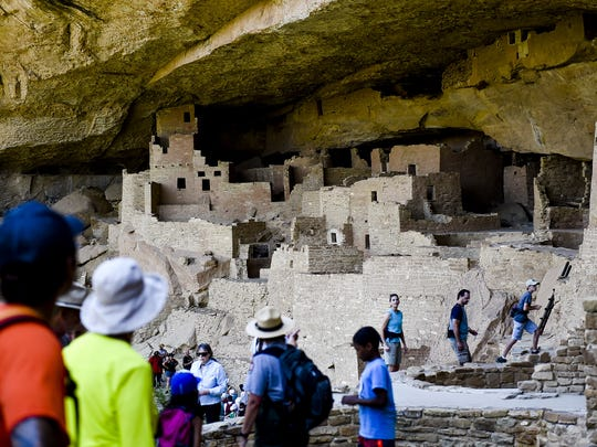 Groups tour through Cliff Palace, one of the larger cliff dwellings in the park at Mesa Verde National Park in 2015.