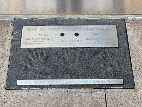 Jack Benny, a famous comedian from the '30s through '70s, left his handprint in cement at the corner of Mountain and College when he came to Fort Collins to help celebrate the city's centennial. The Downtown Development Authority has restoration of the handprint on its list of priority projects for the coming years.