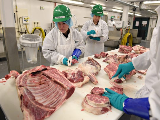 Natalie Wyne and Rain Reich prepare cuts of lamb at CSU's Meat Laboratory on Thursday, February 2, 2017. Ram Country Meats at CSU's Department of Animal Science is a student-run operation that sells high quality meat.