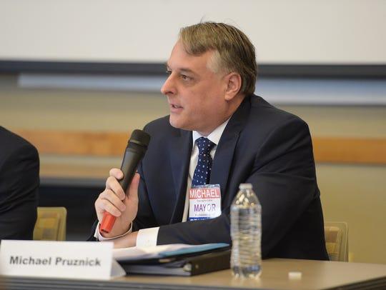 Fort Collins mayor candidate Michael Pruznick speaks