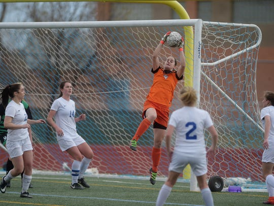 Poudre High School's girls soccer team, shown during a 2017 game against Fossil Ridge, will play cross-town rival Rocky Mountain at 6:30 p.m. Tuesday at French Field.