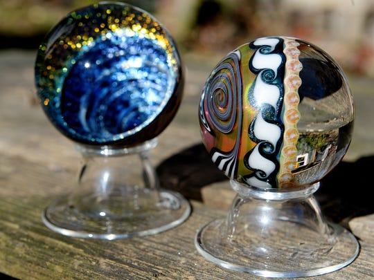 Sand Spirit Glass marbles created by artist Jamie Wickliffe in Fairview.