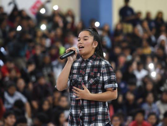 Okkodo High School freshman Ashley Nachuo performs