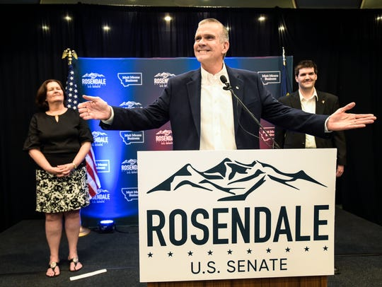 Matt Rosendale addresses supporters in Helena, after