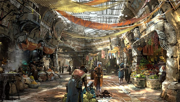 A forgotten trading post filled with shifty characters is the setting for Disneyland's Star Wars land to open in 2019.