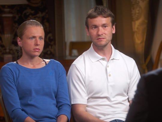 Vitaly Stepanov and his wife, Yuliya, are interviewed
