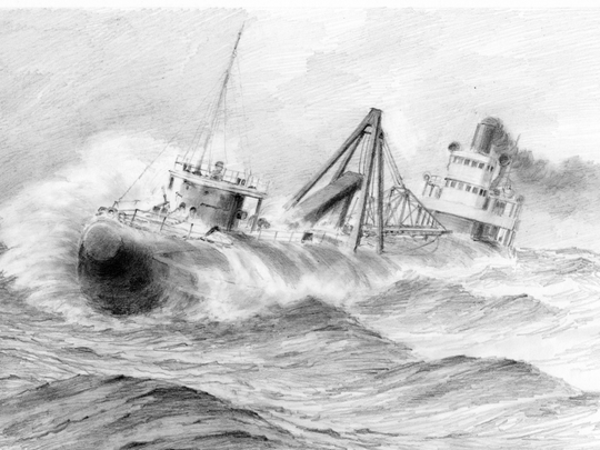 """A drawing of the Clifton """"fighting for her life"""" in the horrific storm that caused her to sink."""