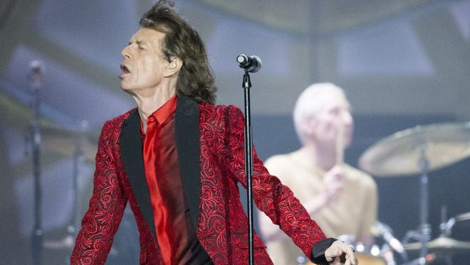 "Rolling Stone frontman (and ""Freejack"" actor) Mick Jagger performs with the rest of the band during their stop at Indianapolis Motor Speedway on July 4, 2015, as part of their ""Zip Code"" tour."
