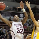 Mississippi State guard Craig Sword attempts a layup last year.