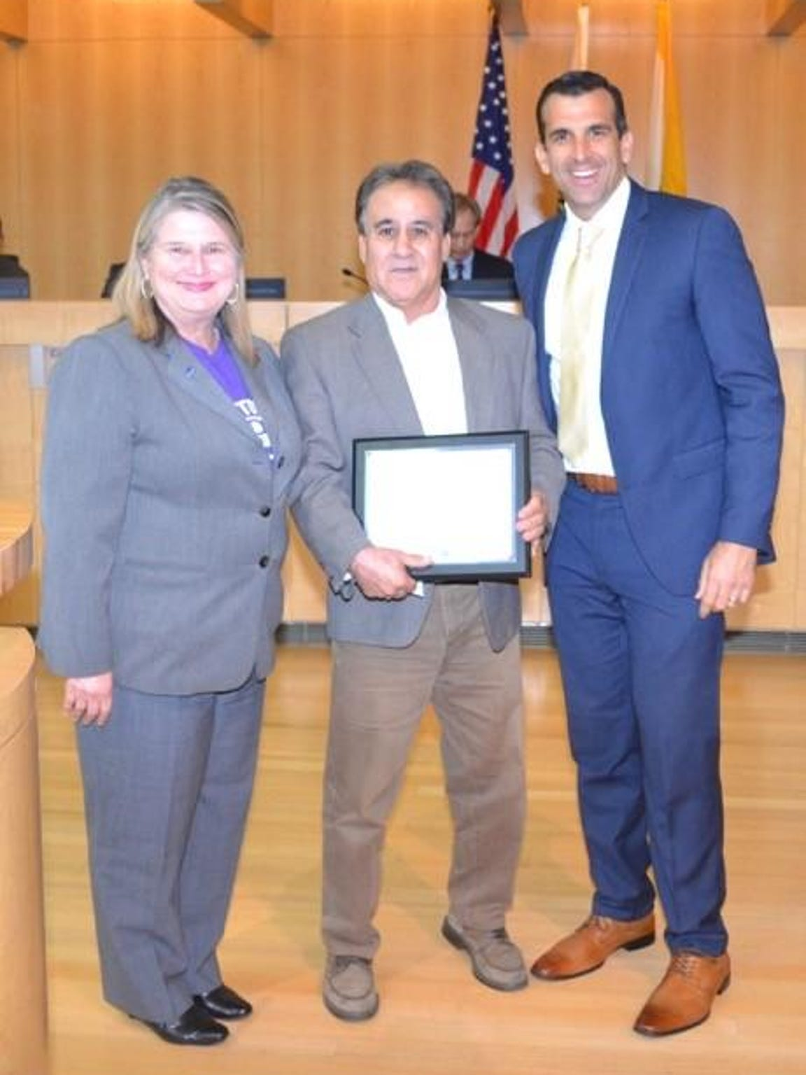 Rudy Guevara Commendation with Vice Mayor Rose Herrera and Mayor Sam Liccard