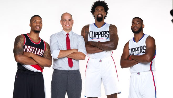 Dominic Agostini, a State Farm agent who has an office in Spencerport, flew to Los Angeles in early September to record four commercials with NBA players, from left, Damian Lillard, DeAndre Jordan and star point guard Chris Paul.
