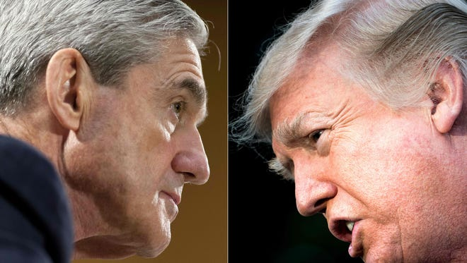 This combination of pictures created on Jan. 8, 2018, shows Robert Mueller and President Trump.