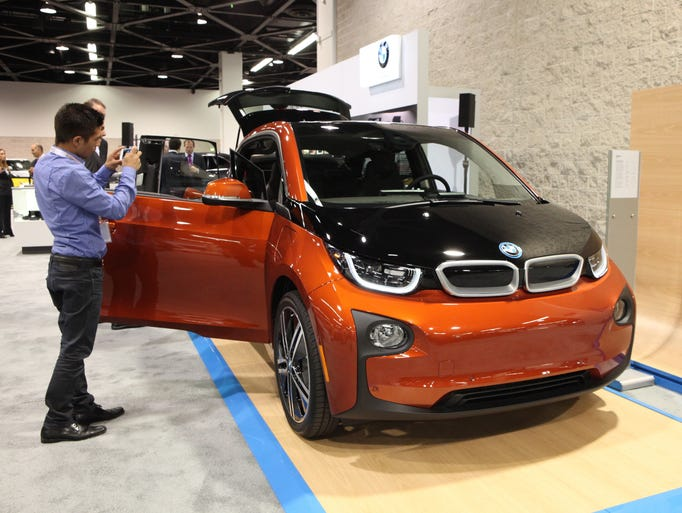 The 2014 BMW i3 on display at the Orange County Auto Show