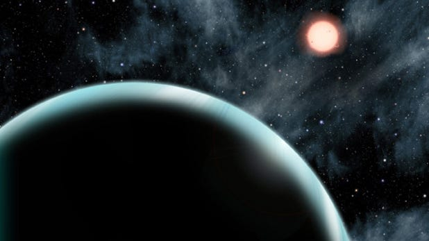 This artist's conception shows the Uranus-sized exoplanet Kepler 421-b, which orbits an orange, type K star about 1,000 light-years from Earth.