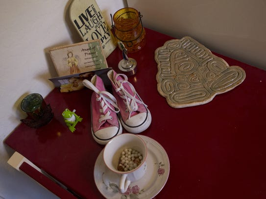 A table built by Darrell Parker and his daughter, Addie,